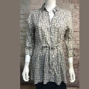 Tommy Bahama Button Down Top XS 3/4 Sleeve Gray